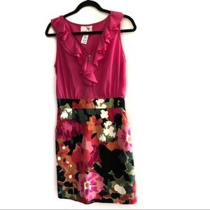 Anthropology Tabitha pink and floral ruffled dress
